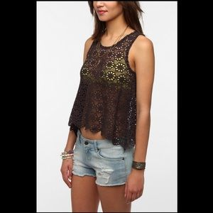 Pins And Needles Daisy Lace Swing Brown Tank Top